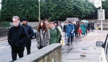 Undercover police officer Andy Coles marches in Fairford, March 1991