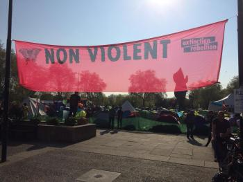 Extinction Rebellion 'nonviolence' banner