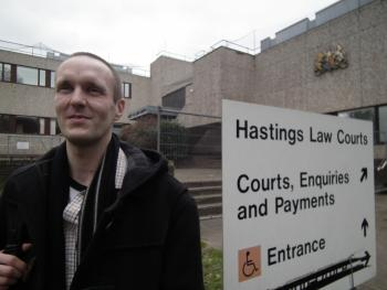 Gabriel Carlyle outside Hastings magistrate court, 20 March.