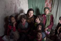 Maya Evans at a refugee camp in Kabul