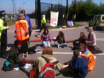 Blockading Burghfield. Photo: Action AWE