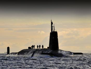 Nuclear sub HMS Vanguard arrives back at Faslane, Scotland. PHOTO: CPOA (PHOT) TAM MCDONALD @UK MOD / CROWN COPYRIGHT
